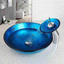 Aufsatz Glas Waschbecken Aufsatzwaschbecken runde Waschschale Blau 42cm rund