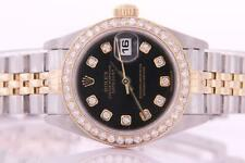 Ladies Rolex Datejust Stainless Steel and Gold Automatic Diamond Watch with Box