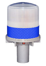 S4L BLUE Solar LED FLASHING Light Barricade Flasher Traffic Marine Boat