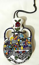 Handmade Painted Armenian Ceramic Holy Land Jerusalem Wall Hangings Jug