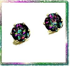 Mystic Topaz Checkerboard Cut 6 mm Round Gold-Filled 6-Prong Studs-2.20 cts