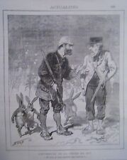 LITHOGRAPHIE DE STOP 19ème ACTUALITES OUVERTURE DE LA CHASSE EN 1879
