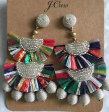 NWT J.Crew 100%  Authentic Bead-and-raffia Earrings