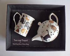 Cats 2 cup teapot,with matching bone china mug -  gift boxed.