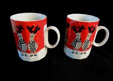 Mikasa Rudolph Mugs Pair 2 Vtg Cups Reindeer Christmas Holiday 12 Sided Retired