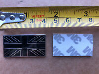 Black / Chrome Union Jack Metal Sticky Enamel Badge Emblem Classic Car 38mm