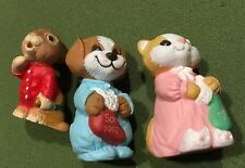 1992 Son Daughter Hallmark Christmas Cat Puppy Bunny In Pj'S Merry Miniatures*