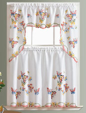 3pcs Kitchen curtain set, spray painted by hand of FLYING BUTTERFLY design