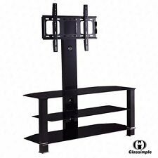 "Black 32""-55"" Plasma LCD TV Cantilever Tempered Glass TV Stand w/Bracket"