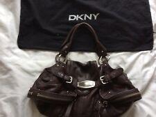 DKNY Donna Karan York Cuero Bolso Slouch Boho New Marrón Suave Hombro Bolsa Antipolvo