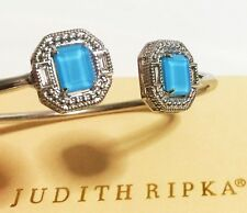 $400 Judith Ripka JR Silver Avery Baguette Rock Crystal Wire Cuff Bracelet Women