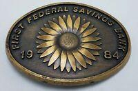 Vintage 1984 First Federal Savings Bank Newton Kansas Belt Buckle Ltd Ed #184