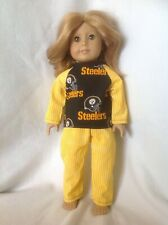 """Fit 18"""" American Girl doll Steelers gold pajamas pjs pants top clothes outfit"""