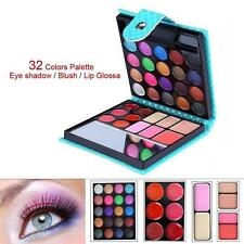 32 Colors Shimmer Eyeshadow Eye Shadow Palette Makeup Cosmetic Brush Set Blue GL