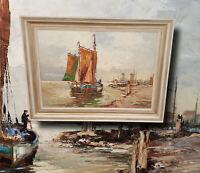 Holländische Küstenlandschaft, Fischerboote. Original altes Ölgemälde, signiert