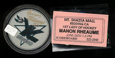 Manon Rheaume Signed Puck (Autograph) Nhl Hockey Knoxville Cherokees