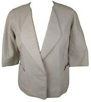 Pringle Scotland Soft Short Sleeve Cream Leather Jacket Size UK 8 / Small