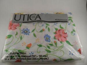 NEW Vintage Stevens Utica Full Flat Sheet Percale No Iron Floral NIP 1970s