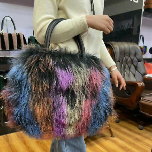 Women's Bags Fur Shoulder Bag Sheep Fur Bag Handbag Colourful Fur Messenger Bag