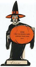 Vintage Mechanical Halloween Witch & Pumpkin Q&A Die-Cut Card