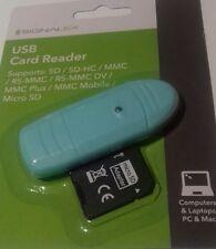 Lettore di schede di memoria USB Turchese 2.0 SD/MMC/SDHC/RSMMC/RSMMC DV/MMCplus MICROSD