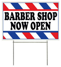 18x12 Inch Barber Shop Now Open Yard Sign With Stake Wb1s