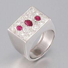 RING 14K Weißgold - Diamantbesatz ca. 1,5 ct TW/vvs  3 Rubine ca. 0,50 ct - 52,5