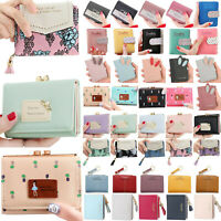 Women's Zip Pouch Leather Cute Wallets Small Mini Purse Handbag Card Holder Bag