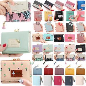 Womens Small Cute Wallets Mini Purse Zip Pouch Leather Handbag Card Holder Bag