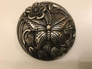 Rare solid,vintage,distressed women's Butterfly belt buckle.Antique nickel plate