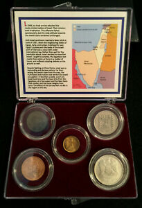 Collection of Five Coins Related To Six-Day War Israel 1967 COA & History & Case