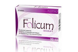 Kwas Foliowy- Folicum Acidu -Pregnancy Maternal Tissue Support 30 tabs.