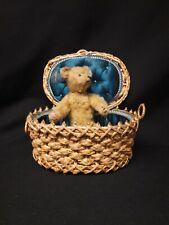 Small Antique Steiff Teddy Bear in Silk Lined Basket