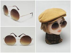 Retro Vintage Round Amber Lens Sunglasses 60s 70s Flower Child Hippie Style