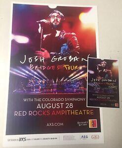 JOSH GROBAN Bridges Tour 2019 Red Rocks 11x17 Promo Poster Handbill