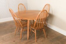 Vintage Ercol Light Elm Oval Dining Table and 4 Quaker Chairs