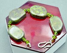 "STERLING SILVER GORGEOUS GREEN AGATE WITH GREEN BEADS BRACELET 9.0"" #FMY074"