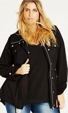 c960aca8a47 City Chic Black Lightweight Parka Coat Jacket Size M 18 Below Hip Length
