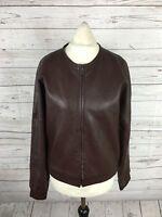 CALVIN KLEIN Retro Leather Biker Jacket - UK10 - Burgundy - Great Condition