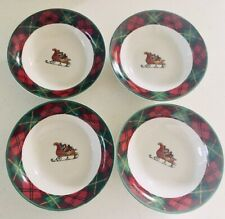 Father Christmas Set of 4 Cereal Bowls Tartan Plaid by Block Vintage