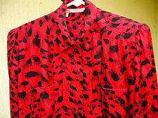 Tess Vtg 80S Sz L M Red Satin Abstract Petal Draped Secretary Blouse Shirt Women