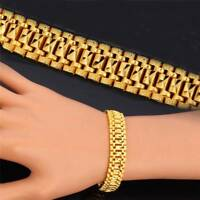 Chunky  Link Chain Bracelet 18K Gold Plated Cuff Bangle Wristband Jewelry Men
