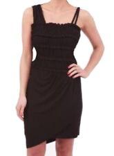 Anthropologie French Frappe Stretch Mini Dress XSmall 0 2 Black Asymmetrical NWT