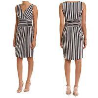 NWT St. John Striped Sleeveless Dress Sz 10 Black Stripe Silk Blend Sheath Mini
