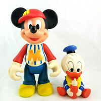 DISNEY Baseball Mickey Mouse & Shelcore Baby Donald Duck VTG Plastic Toy Figures