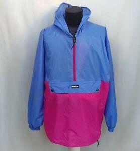 Vintage 90s K-Way Rain Coat Nylon Windbreaker Zip Packable Hooded Jacket Size L