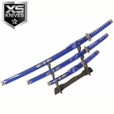 "3pc SET 40"" Collectible Ninja Blue Katana Swords Ying Yang Carbon Steel w/Stand"