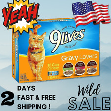 9Lives Gravy Wet Cat Food Variety 5.5Oz Cans Pack Of 12 Vintage Favorites Flavor