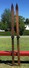 """OLD WOODEN Skis 84"""" Long w/ POINTS Snow Skiis GREAT DECOR!"""