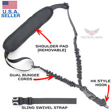 Tactical 1 Single One Point Bungee Gun Rifle Sling + QD+HK+Strap+Shoulder Pad